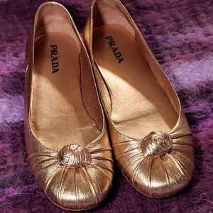 Prada Nappa Knot Gold Ballet Flat